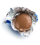 Chocolate biscuit wrapped in aluminium foil. Stock Images