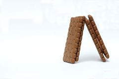 Chocolate Biscuits. Yummy Chocolate biscuits with white isolated background royalty free stock photography