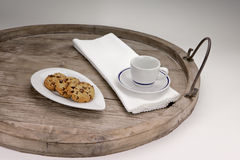 Chocolate biscuits. Chocolate chip cookies served on an antique wooden tray Royalty Free Stock Images
