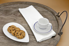 Chocolate biscuits. Chocolate chip cookies served on an antique wooden tray Stock Images