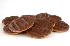Chocolate biscuits. Some chocolate biscuits on a white background Stock Photo