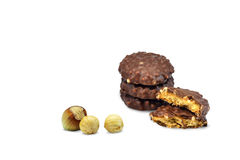 Chocolate biscuits with caramel isolated stock photo