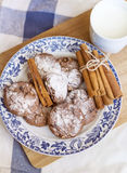 Chocolate biscuits  with cinnamon sticks and cup of milk Royalty Free Stock Photography