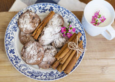 Chocolate biscuits  with cinnamon sticks and cup of milk Stock Photography