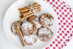 Chocolate biscuits  with cinnamon sticks Royalty Free Stock Images