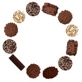 Chocolate biscuits circle for frame etc, white background Royalty Free Stock Photography
