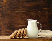 Chocolate biscuits  cookies with milk Stock Images