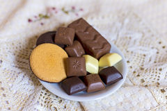 Chocolate and biscuits Stock Image
