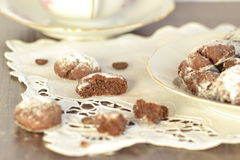 Chocolate Biscuits with icing sugar Royalty Free Stock Image
