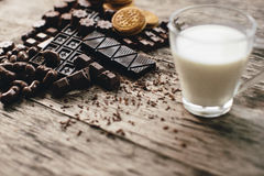 Chocolate, biscuits and milk Royalty Free Stock Photos