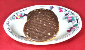 Chocolate Biscuits on a plate Royalty Free Stock Images