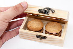 Chocolate biscuits in the wooden retro box Stock Photos
