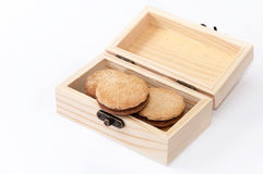 Chocolate biscuits in the wooden retro box Stock Image
