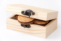 Chocolate biscuits in the wooden retro box Stock Photography