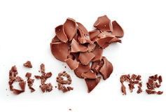 Chocolate bite me heart Stock Image