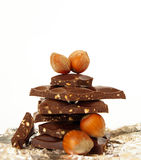 Chocolate block and hazelnut Royalty Free Stock Images
