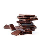 Chocolate blocks. Isolated chocolate blocks closeup... mmm yummy Stock Photos