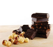 Chocolate blocks. Isolated chocolate blocks closeup... mmm yummy Royalty Free Stock Photos