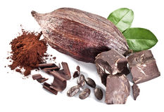 Chocolate blocks and cocoa bean. Royalty Free Stock Photography