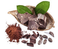 Chocolate blocks and cocoa bean. Stock Photo