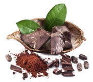 Chocolate blocks and cocoa bean. Royalty Free Stock Photo