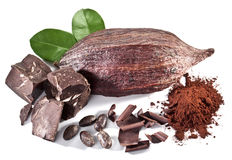 Chocolate blocks and cocoa bean. Royalty Free Stock Images