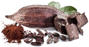 Chocolate blocks and cocoa bean. Stock Image