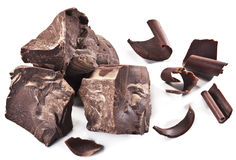 Chocolate blocks isolated on a white background. Stock Photo