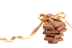 Chocolate blocks present isolated on white Stock Image