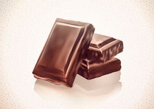 Chocolate blocks stack on white background. Gradient Mesh. EPS10 Royalty Free Stock Photography