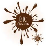 Chocolate blot with text BIO Chocolate Stock Photo