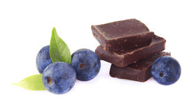 Chocolate with blueberries Stock Image