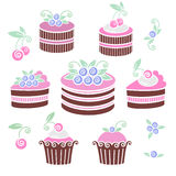 Chocolate blueberries cakes and pies. Collection of blueberries cakes and pies images in stencil style Stock Photo
