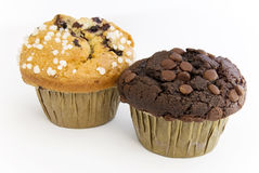 Chocolate and blueberry Muffin. Muffins filled with chocolate and blueberries stock images