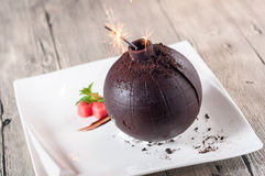Chocolate bomb. A dish is very interesting Royalty Free Stock Photos