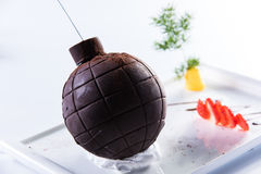 Chocolate bomb. Interesting of dishes Stock Photos