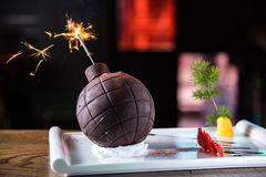 Chocolate bomb. Interesting of dishes Royalty Free Stock Photos