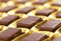 Chocolate bonbon. On the golden cover Stock Photos