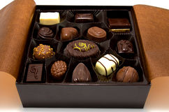 Chocolate bonbons in box Royalty Free Stock Images