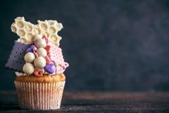 Chocolate bonbons cupcake Stock Image