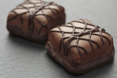 Chocolate bonbons. Fine chocolate bonbon candies with patterns Stock Photo