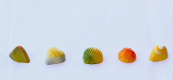 Chocolate bonbons with fruit flavours Royalty Free Stock Photo