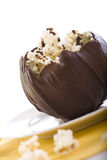 Chocolate Bowl of Popcorn. Chocolate covered popcorn in a milk chocolate bowl stock images