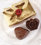 Chocolate and box. On studio setting Royalty Free Stock Images