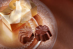 Chocolate and box Stock Photography
