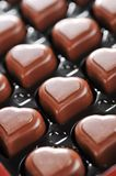 Chocolate in box. Heart shape delicious chocolate in box  close-up Stock Image