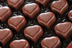 Chocolate in box. Heart shape delicious chocolate in box  close-up Royalty Free Stock Images