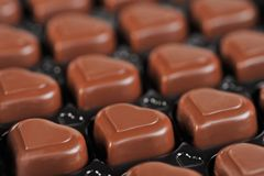 Chocolate in box. Heart shape delicious chocolate in box  close-up Stock Photo