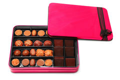 Chocolate box. Isolated on white Royalty Free Stock Images