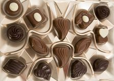 Chocolate box. Full of tasty candies Royalty Free Stock Photos